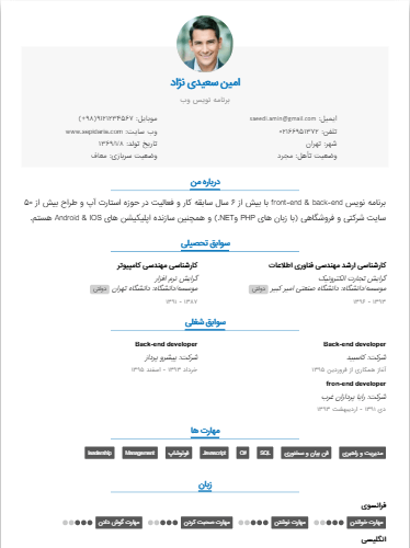 Sample resume of PreviewDefault-Template